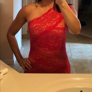 Bebe bright coral one shoulder lace dress